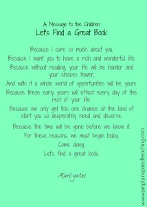 A Message to the Children: Let's Find a Book